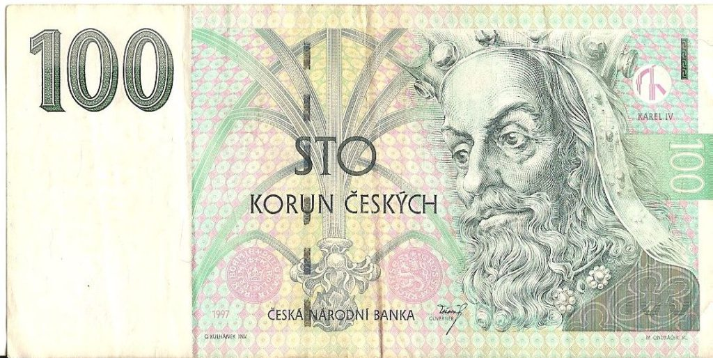 100 krona note with Charles IV