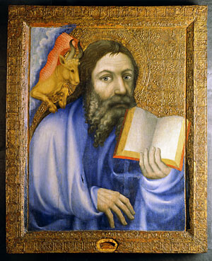 Saint Luke holding a book, with winged bull