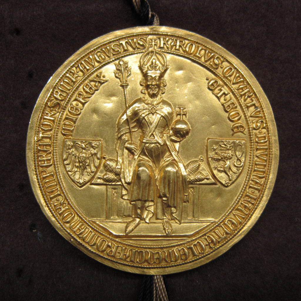 Golden seal of a seated Charles IV