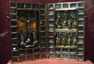 Elaborate hinged reliquary featuring biblical scenes
