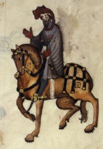 A miniature of a knight on horseback