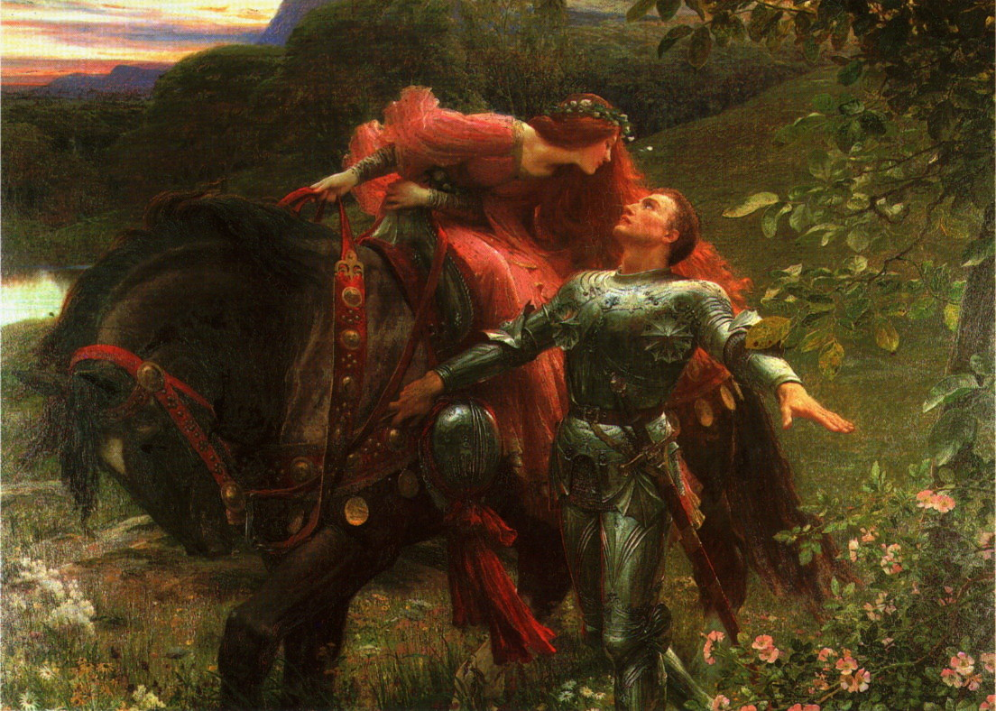 Victorian painting of a knight with a lady