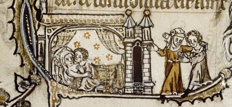 Illuminated manuscript. A couple lie in bed whilst other courtiers stand outside the door