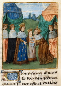 Illumination of men with crowns standing around a young girl. A castle is in the background