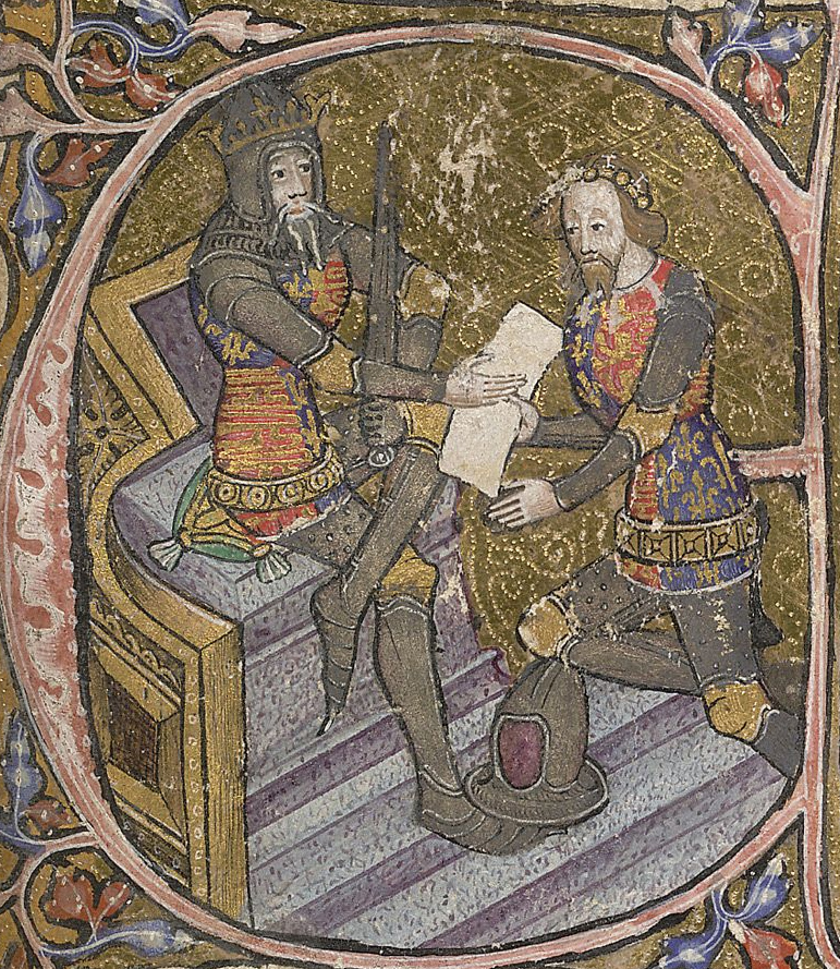 Illumination of the Black Prince in armour