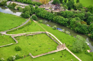 The foundations of Godstow Abbey from above