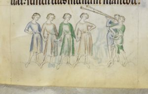 Medieval depiction of a line of men holding hands
