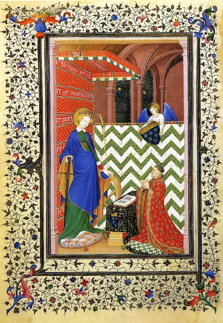 Brightly coloured illumination of a man praying before a woman with a sword.
