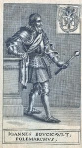 An engraving of Boucicaut in armour carrying a ceremonial mace