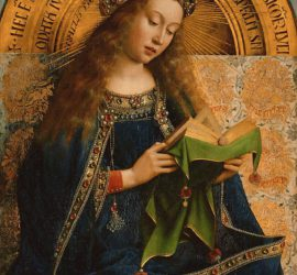 a young virgin mary with hair unbound sits reading a book