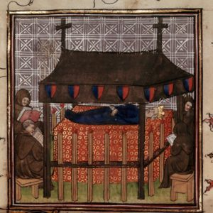 Royal body surrounded by mourners