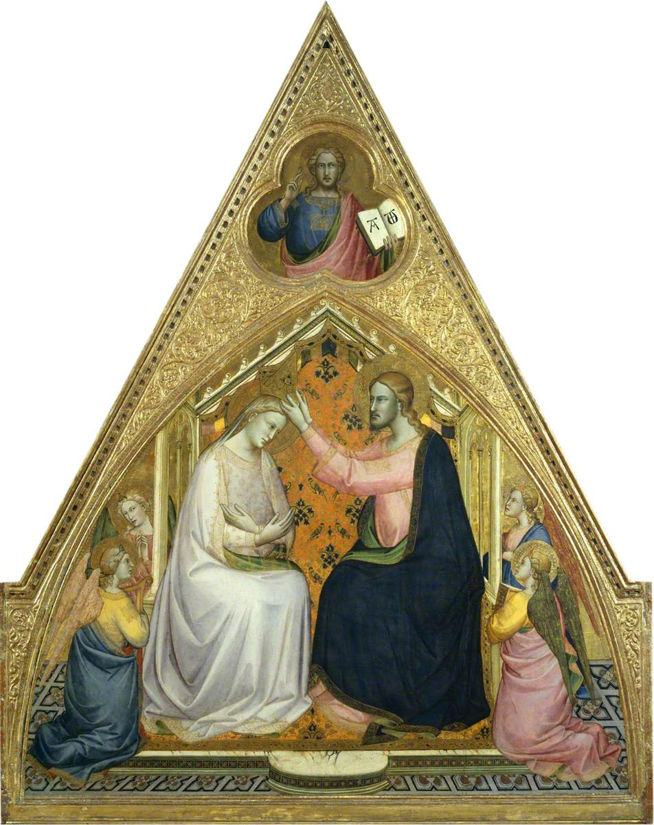 Elaborately gilded triangular panel painting