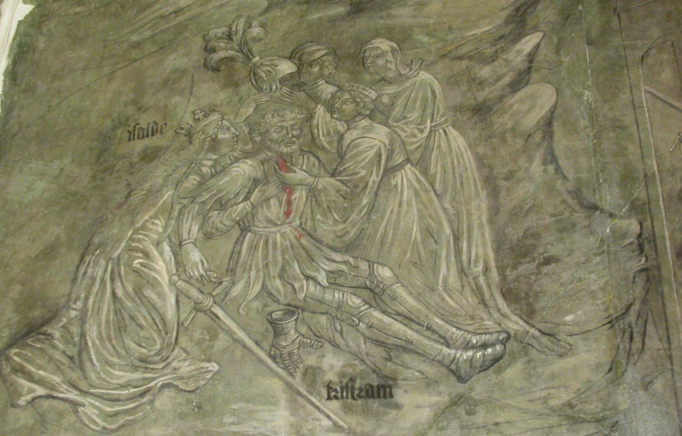 Mural in monochrome apart from the red blood shows ladies tending to a prone knight