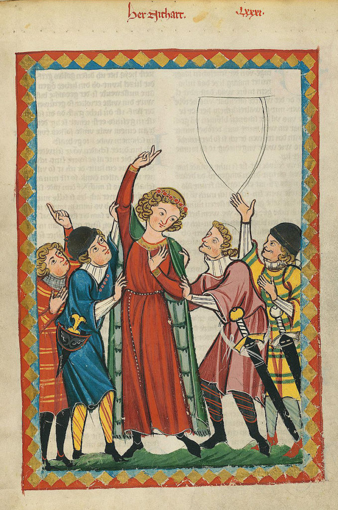 A crowd of medieval dancing figures in bright colours with arms upraised