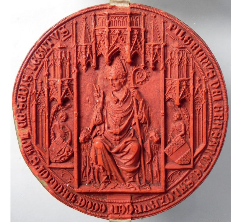Detailed red seal showing a seated archbishop and church architecture