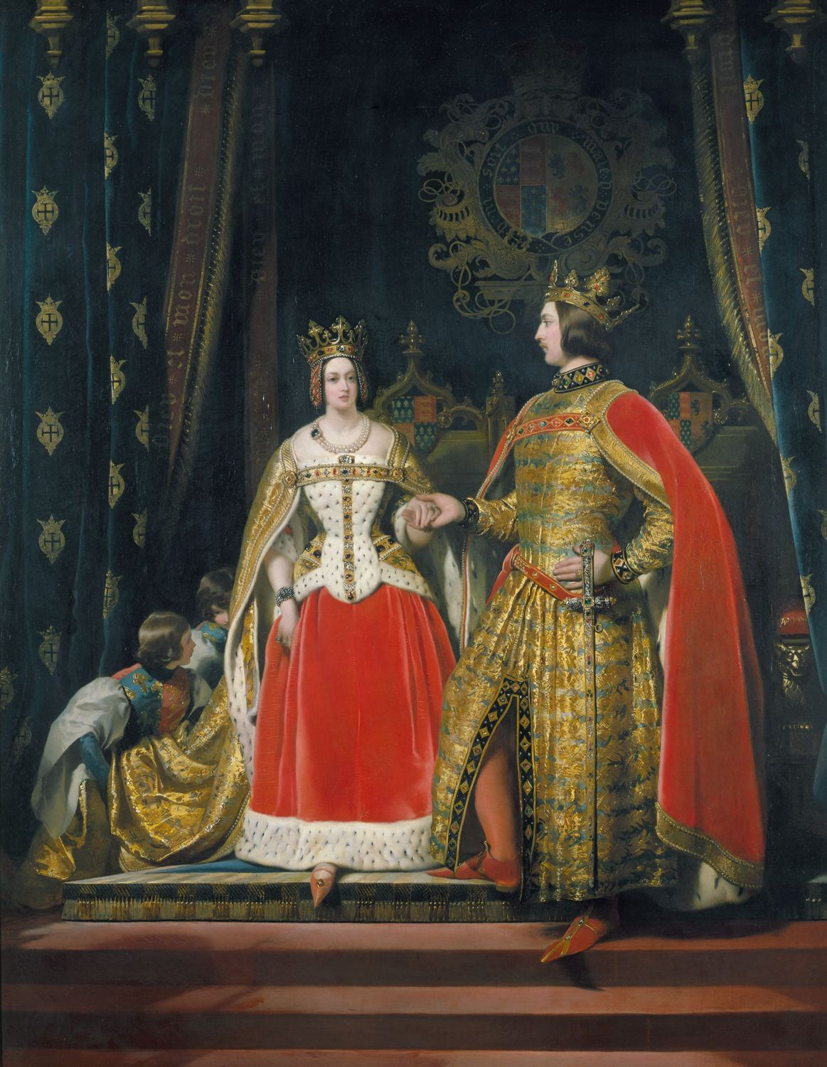 Painting of Queen Victoria and Prince Albert as Edward III and Philippa of Hainault