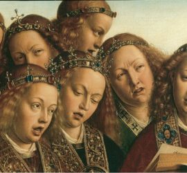Angels concentrating on a musical score