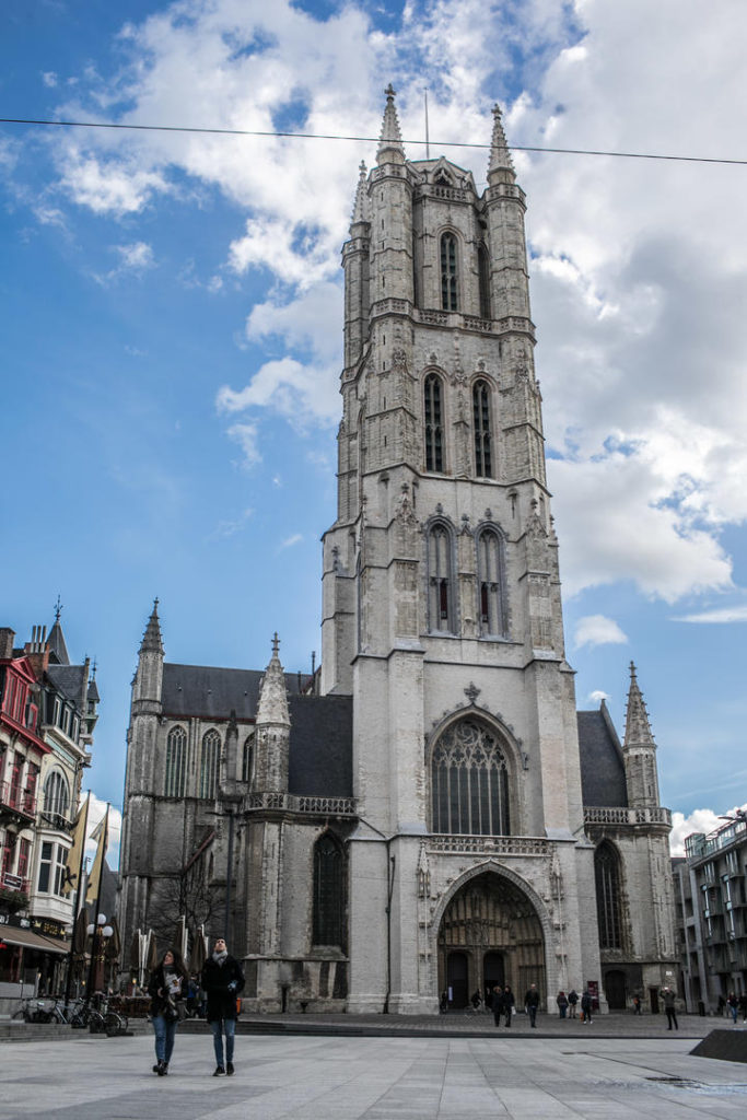 The high tower of St Bavo's cathedral
