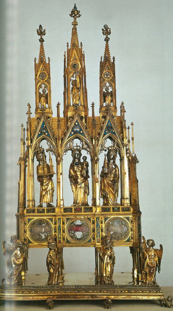 Golden reliquary with figures of three churchmen