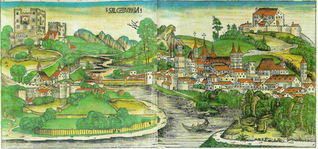 Brightly coloured drawing of medieval Salzburg