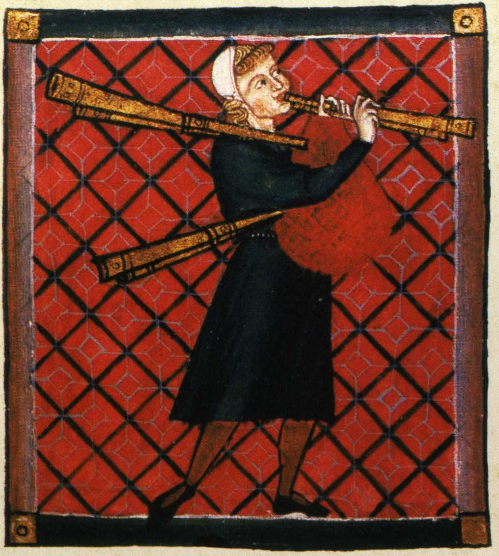 Figure playing the bagpipe