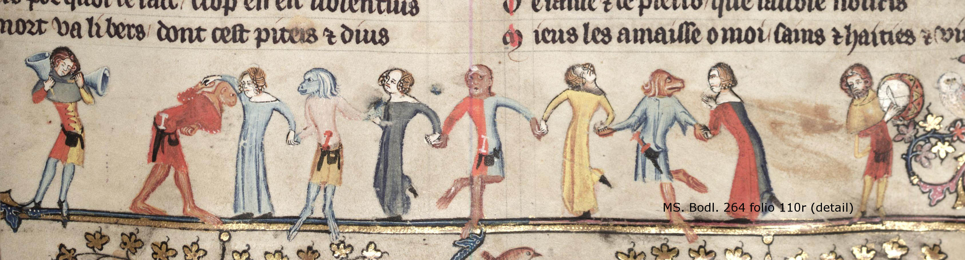 dancing courtiers in animal masks