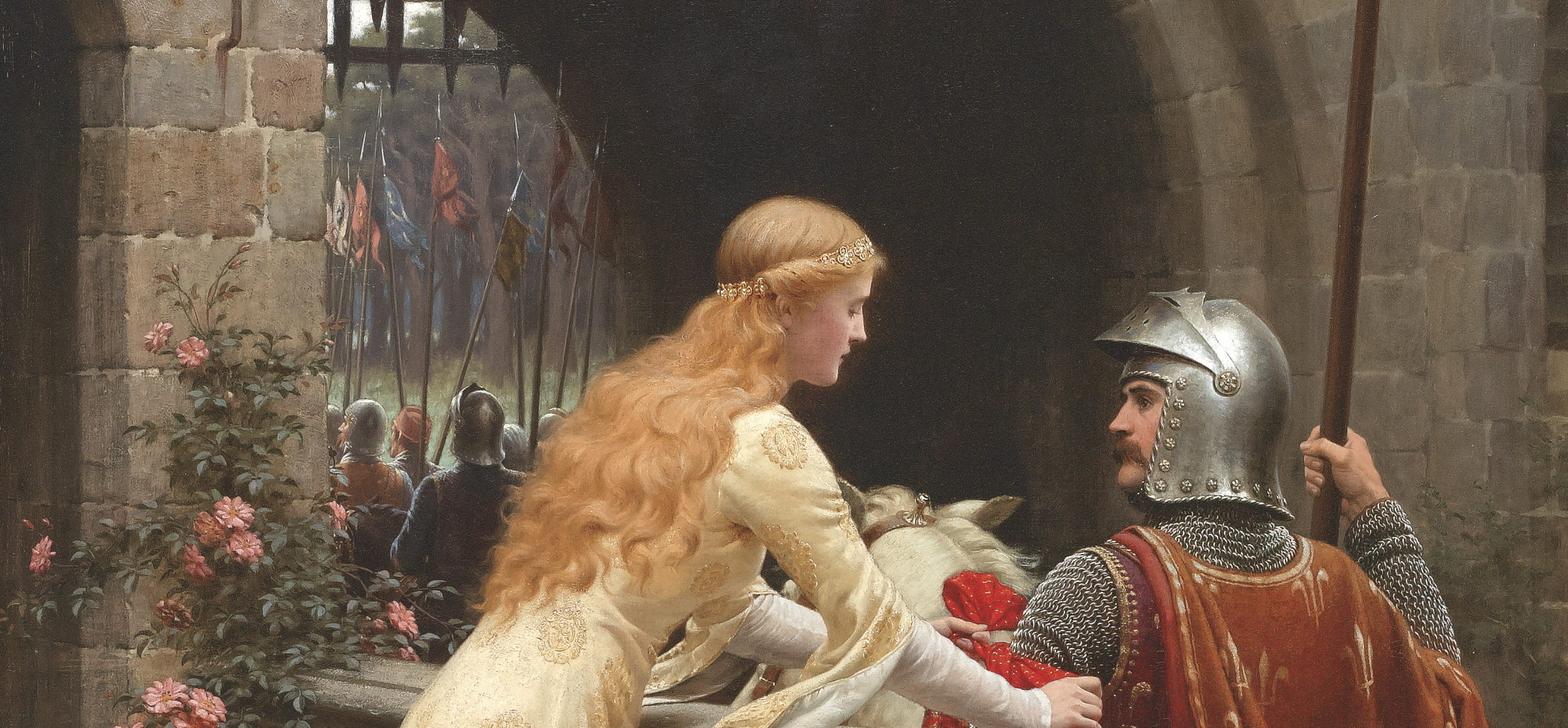 Victorian painting of a knight leaving on crusade