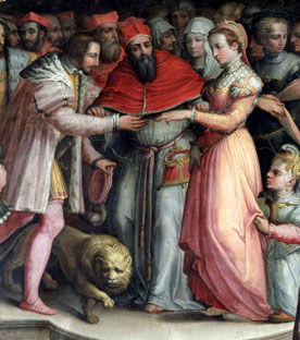painting of a betrothed pair with a crowd and a lion