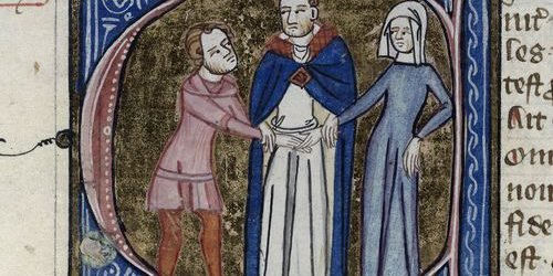 An illumination showing the betrothal of a couple by a priest, with joined hands