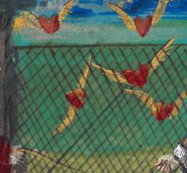 two noble ladies catch winged hearts in a net