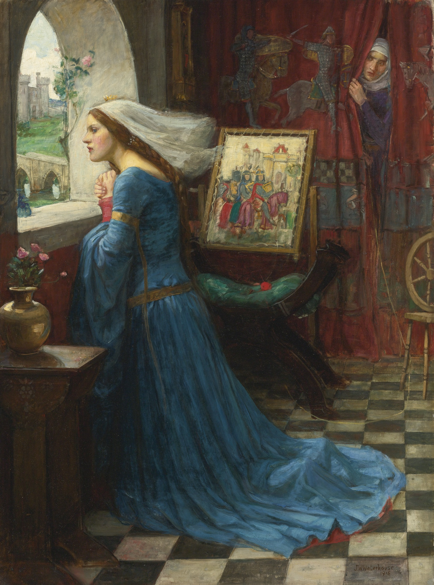 Rosamund kneels at a window whilst Eleanor peers from behind a tapestrry