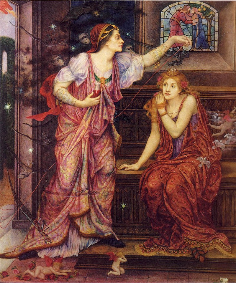 Eleanor, attended by demons, casts a spell over Rosamund