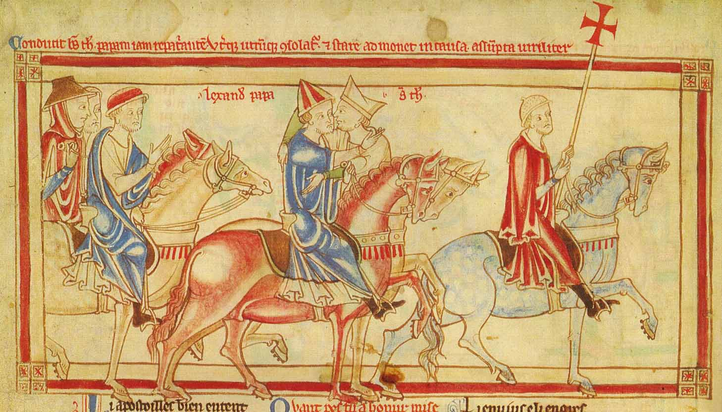 Becket bids farewell to the Pope with a kiss