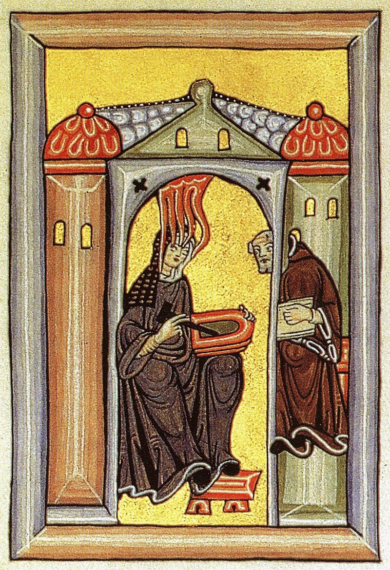An illumination of a nun visited by the flame of the holy spirit