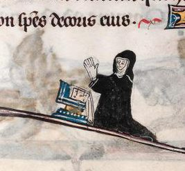 Nun praying in the border of an illuminated text