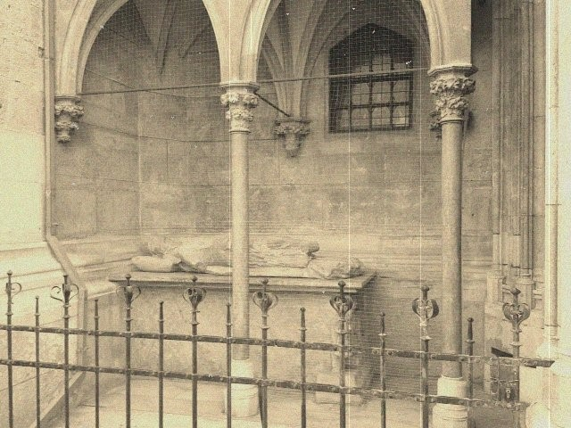 Sepia photograph of tomb at Vienna cathedral