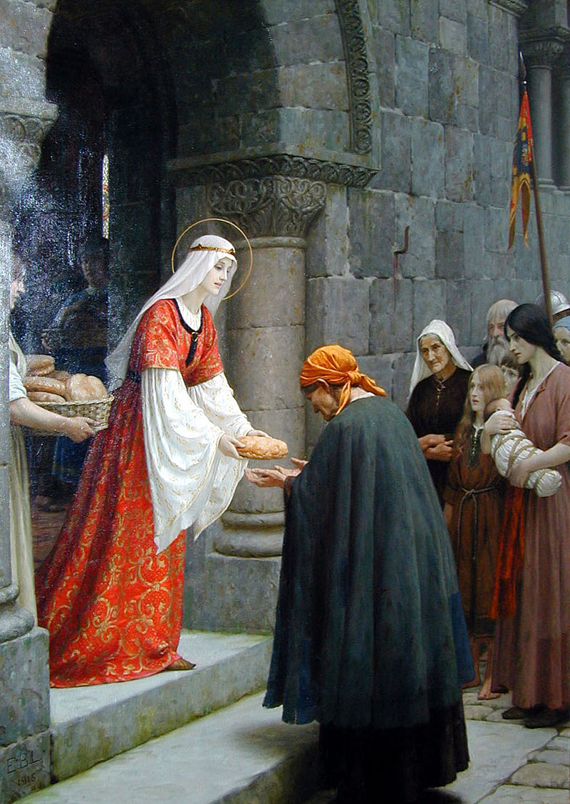 A richly dressed woman hands out bread to peasants
