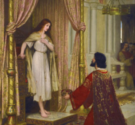 A kneeling man in robes offers a crown to a girl in ragged clothes