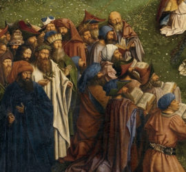 Detail of congregation holding heavy books