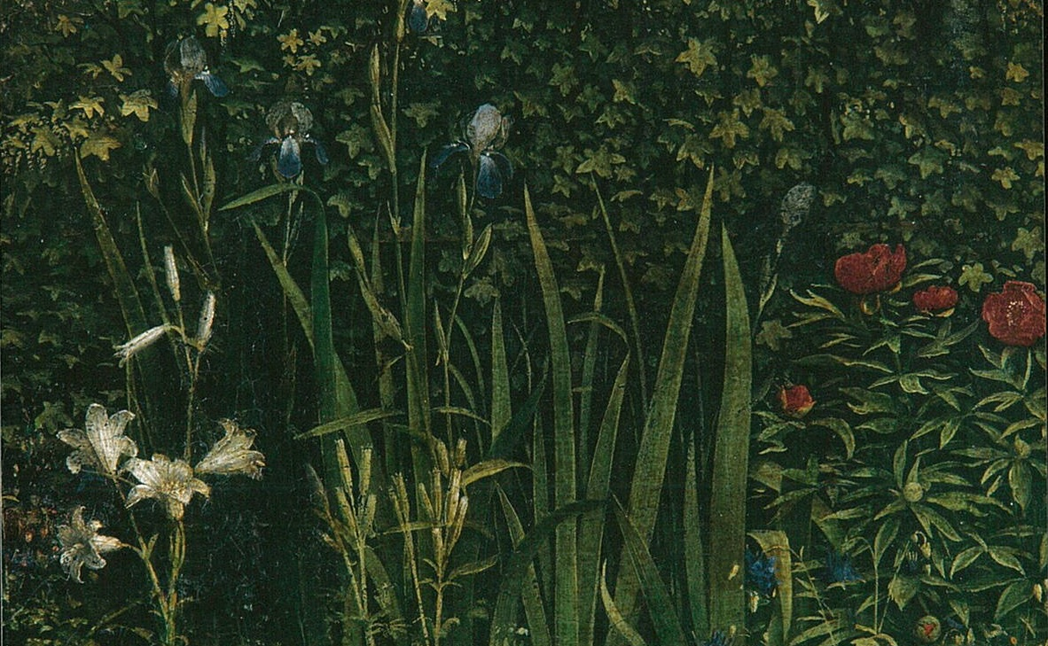 A depiction of the gardens of heaven in the Ghent altarpiece